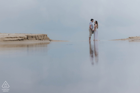 Phu Quoc Island engagement photographer: Water is the best mirror for couple portraits