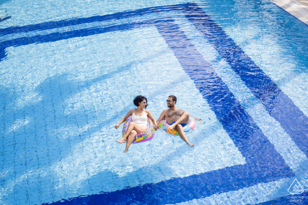 Turkey engagement photography at the Mersin Hilton Hotel- a couple posing in a swimming pool