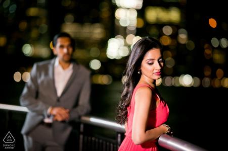 Exchange Place, NJ engagement portrait | Night time shot with a Bollywood mood to it.