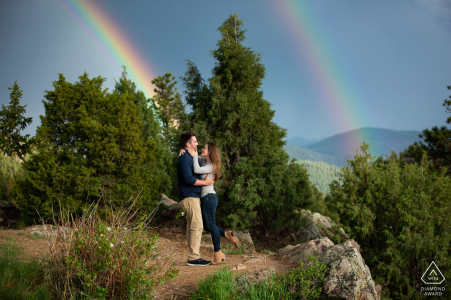Mt. Falcon, Denver Colorado engagement portrait   After waiting for the storm to pass, the couple were treated to not one but two incredible rainbows.