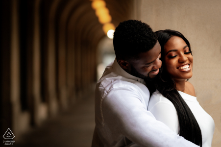 Manchester City Centre prewedding portrait session showing that Love is warm and tender
