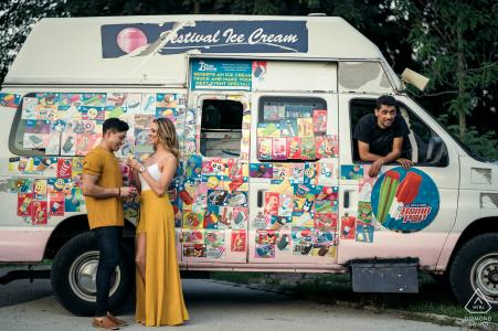 ice cream truck engagement portrait session in Passaic Falls