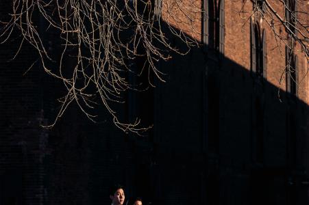 dumbo订婚的夫妇,在午后的阳光下的肖像
