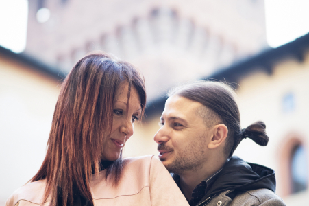 engagement photo in Milano, Italy with a young, beautiful couple