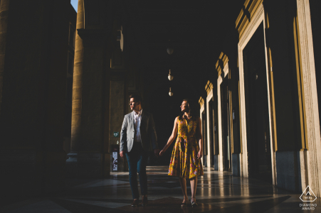 Engagement photo session during sunset in Florence with a couple walking
