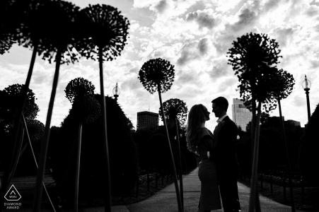 Die Silhouetten eines verlobten Paares während eines Shootings in den Boston Public Gardens