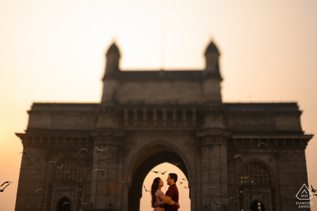 Mumbai, Maharashtra pre-wedding couple portraits - The iconic Gateway of India. Usually a very crowded place, you need to reach here at sunrise to capture it in all its glory!
