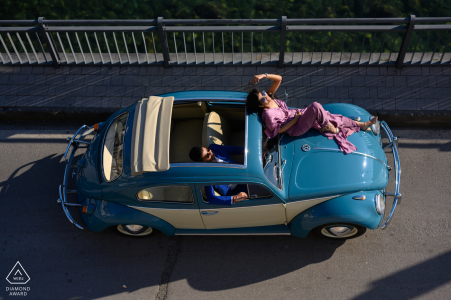 We rented out a vintage car and it was the best decision for this Positano, Italy engagement photo session