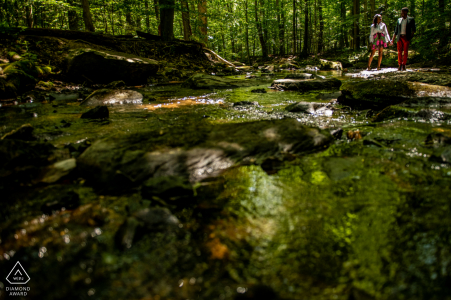Cunningham Falls State Park, Maryland engagement session In the water of the brook under the trees