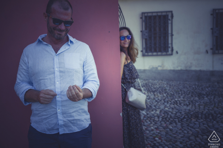 Sarzana love engagement portrait session with a soft filter and tones