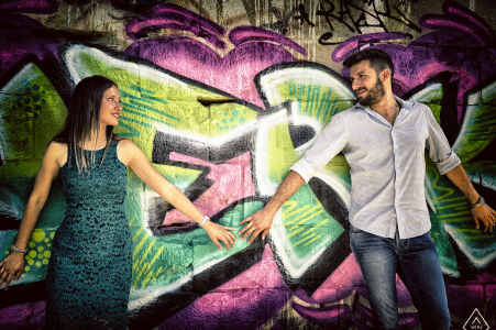 Ceparana Love engagement on the streets with graffiti wall art