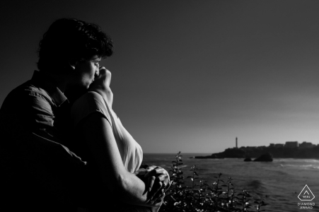 Biarritz France engagement portrait in black and white with Hard light revealing pretty lines