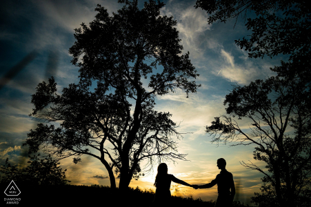 Rosice evening silhouette engagement portrait shoot with a young couple in love