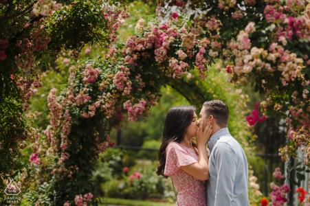 Massachusetts photo pré mariage d'un couple s'embrassant sous des fleurs
