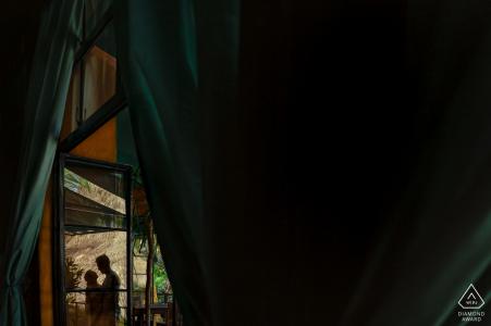 Casa Septiembre, Conchas Chinas, Puerto Vallarta, Mexico silhouette portrait during engagement session