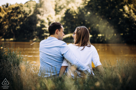 Mickiewicz Park, Lodz, Poland Couple on the lakeside using a Rear shot during engagement session