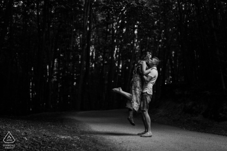 Dargocice couple dancing On the road during their Poland engagement photoshoot