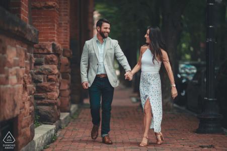 Sessione di fidanzamento nella storica area del South End di Boston