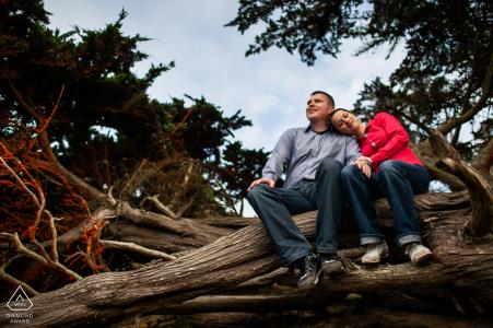 Una pareja de San Francisco CA disfruta de la tranquilidad en el bosque durante la sesión de rodaje prewed