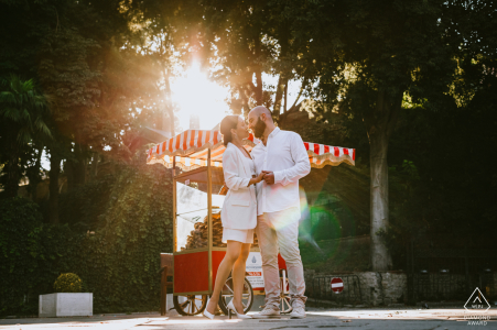 Turkey Couple posing in front of a street food seller cart in the afternoon picture session in Istanbul