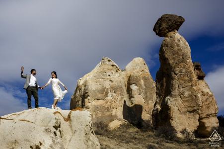 cappadocia, turkey engagement picture session near balancing rocks