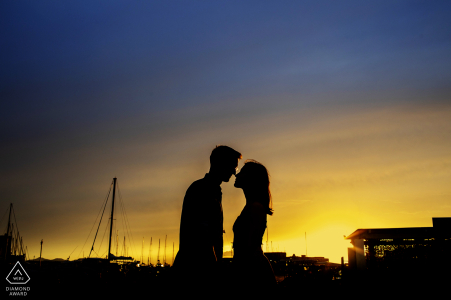 Sunset silhouette couple engagement picture session in Trapani, Italy