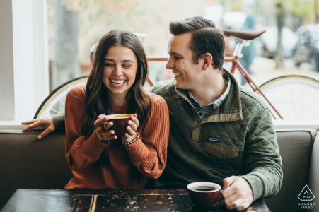 Downtown cafe couple engagement photography at Heritage Bicycles Coffee Shop in Chicago
