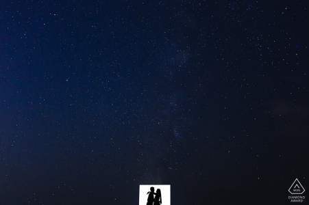 Silhouette engagement picture session in San Francisco set amongst stars