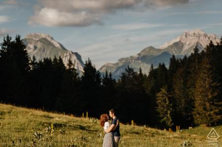 Mountain engagement photos at Les Bauges