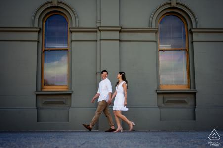 Australia urban stroll engagement photos at Fremantle during sunset