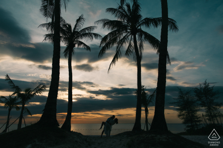 Palm tree engagement picture session in Phu Quoc Island