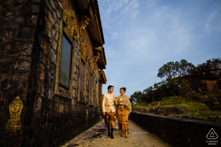 Walking couple engagement photography in Cambodia