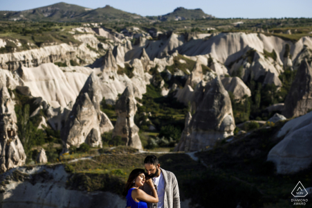 Mountain cliffs engagement portraits at Cappadocia, Turkey