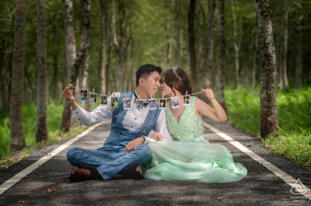 Forest bike path engagement photos in Hualien, China