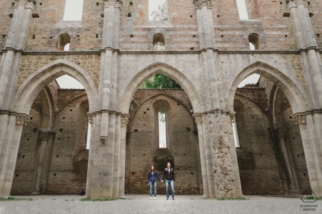 San Galgano, Tuscany engagement photo of a couple in the Abbey