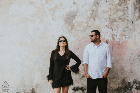 This the very first photo of the couple session in Istanbul Turkey against a plain wall