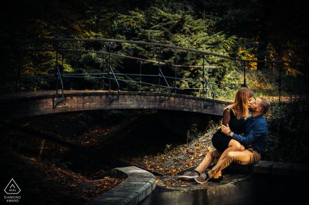 Zrodliska Park, Lodz, Poland engagement portrait session with Two lovers in park