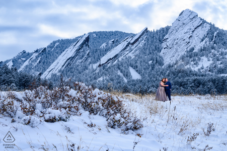 Boulder, CO Mountain Engagement session after a heavy snowfall the day before
