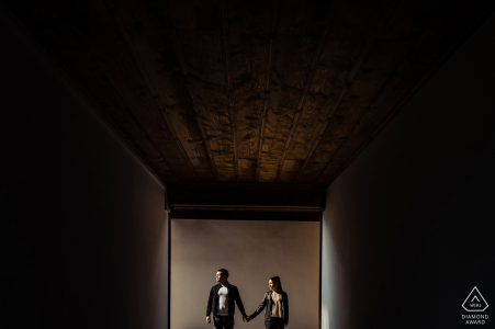 Wine & Spa Complex Starosel, Bulgaria engagement portrait with a posed coupleframed in an opening