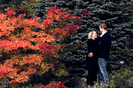 Finland pre wedding portrait session with engaged lovers In Ruissalo garden near the Turku city in Finland - They are going to be married on next summer