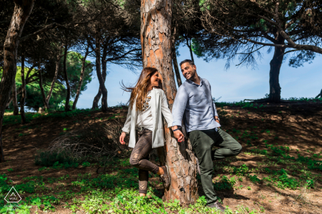 ES pre wedding and engagement photography under the shade trees of Rota, Cadiz, Spain