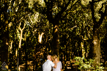 Spoleto - Italy couple on the bench in the middle of the woods during a pre wedding and engagement photography session