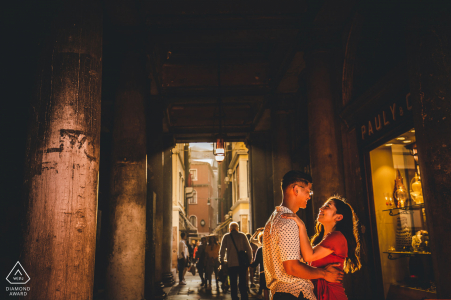 Italy pre wedding and engagement photography in soft light under cover in Venice
