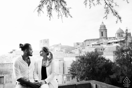 IT pre wedding portrait session with engaged lovers at the garden of Mount Erice in Sicily