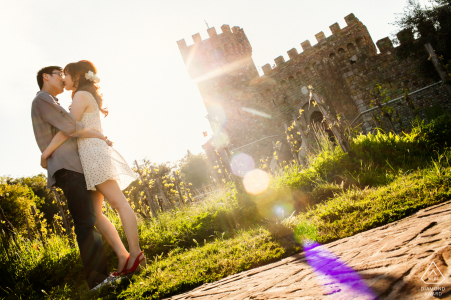 Wine Country pre wedding portrait session with engaged lovers
