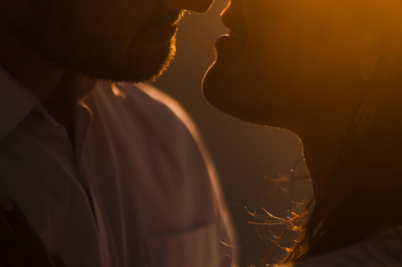 Australia engagement photo shoot at sunset in Perth with a soft kiss