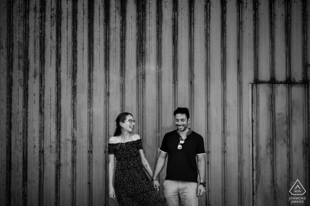 Australia engagement photoshoot & pre-wedding session from an urban scene in Perth with the couple Laughing together