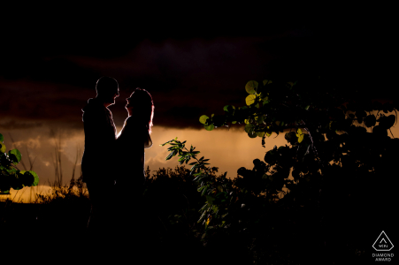 FL engagement portrait with a posed couple at Fort Zach Key West with some Sunset Foliage
