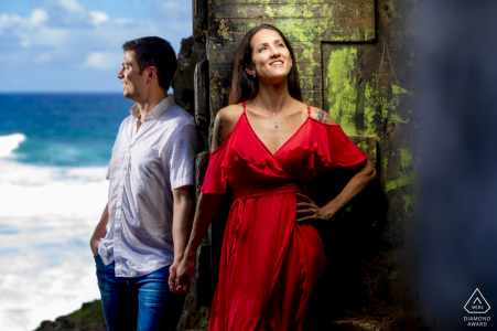 Tunel Guajataca, Isabela, Puerto Rico couple using love to divide the image in two while still creating a connection during a creative portrait session