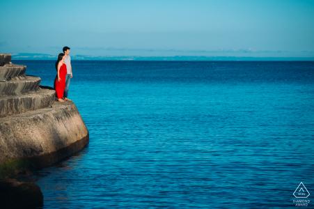Cascais beach, Lisbon Couple enjoying the view the beach during a pre-wed photo session